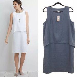 Pure J Jill M Linen Shift Dress Tiered Sleeveless